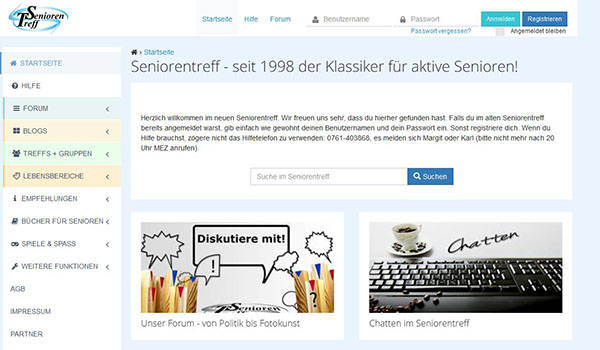Screenshot der Social Media Plattform Seniorenportal.de