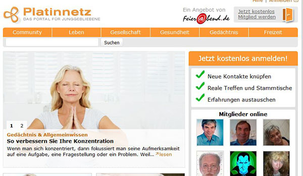 "Screenshot Social Media Plattform ""Platinnetz.de"""